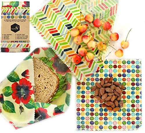 Beeswax Food Wraps Reusable Organic Bees FDA Approved - Premium 3 Pieces Small Medium Large, BPA Free, Sustainable, Eco Friendly
