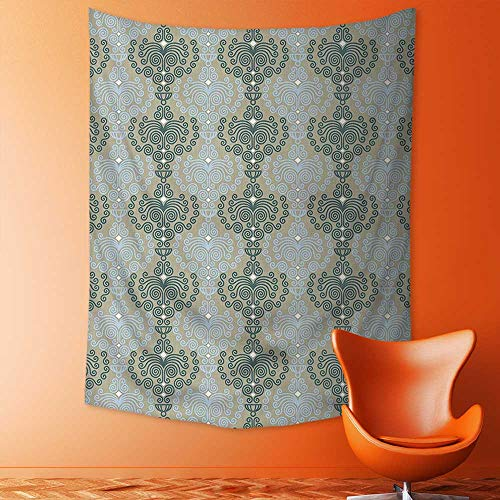 aolankaili Decorate Tapestry Wall Hanging,Art Damask Decor Floral Ornament Background Wallpaper Pattern Print Blue and Taupe Bedroom Living Room Dorm Tapestries