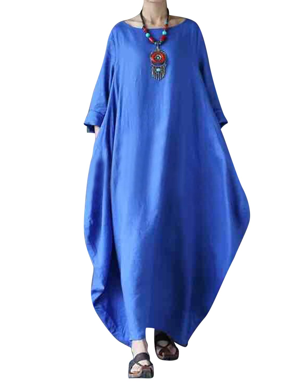 Jacansi Women Vintage Cotton Linen 3/4 Batwing Sleeve Round Neck Baggy Long Dress Blue 3XL by Jacansi