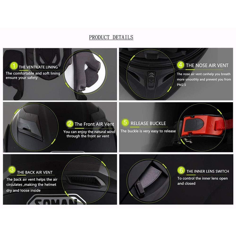 Musica Vivavoce Rumore-Libero Fuoristrada//Strada//Casco da Viaggio,M Shfmx Casco Moto Adulto modulare Bluetooth Casco Moto Casco di collisione per Uomini e Donne