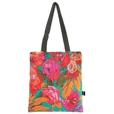 71740e804a21 Amazon.com  Dreaming Moss Handmade Kaffe Fassett Breeze Bag Coral Forest  Cotton Canvas Handbags Eco Daily Female Single Shoulder Tote Women (Garden  ...