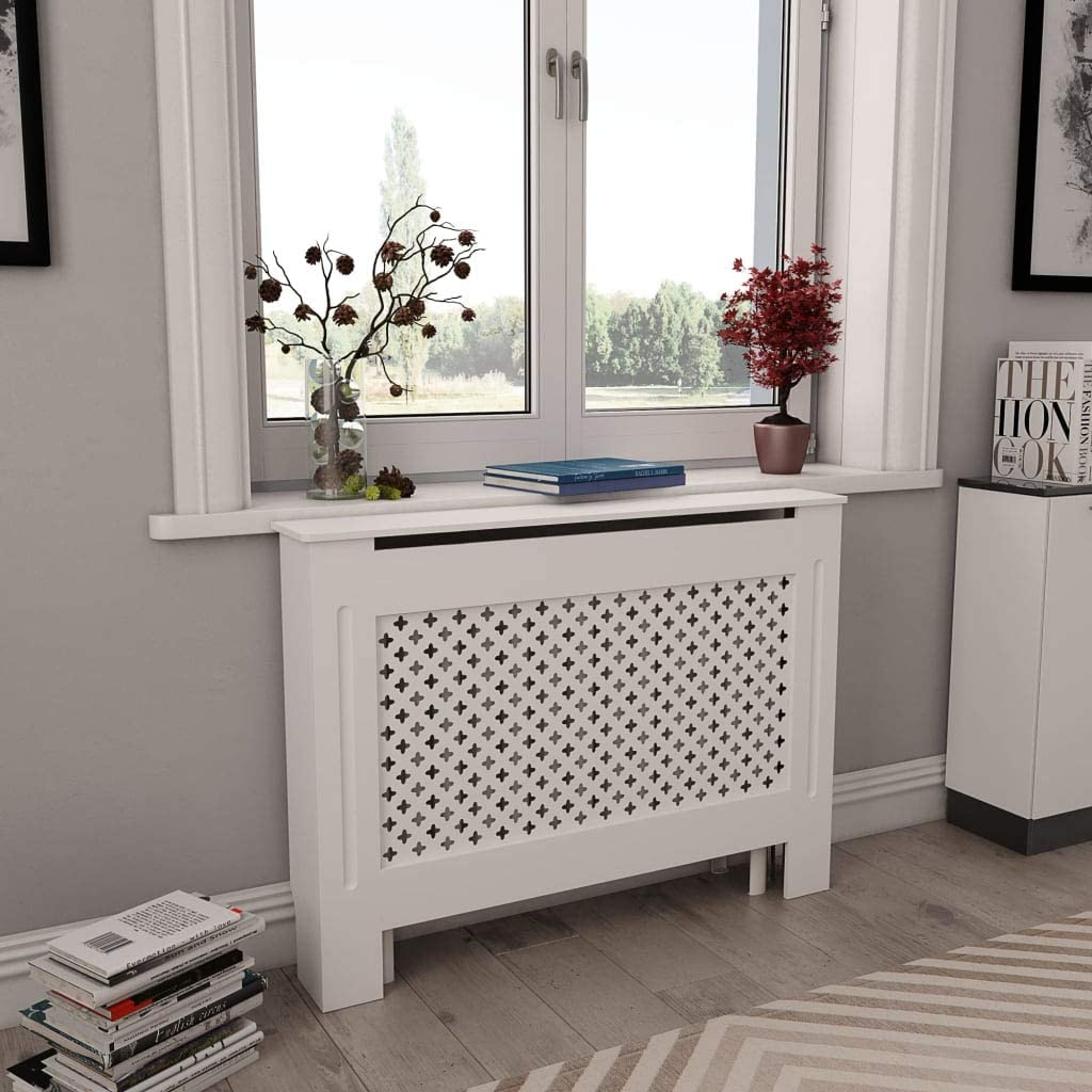 """vidaXL White Radiator Cover, Heating Cover Cabinet MDF,Freestanding,Preservative,Decorative Radiator Cover Display Stand Plant Flower Pot,Heating Cabinet 44.1""""x7.5""""x32.1"""""""