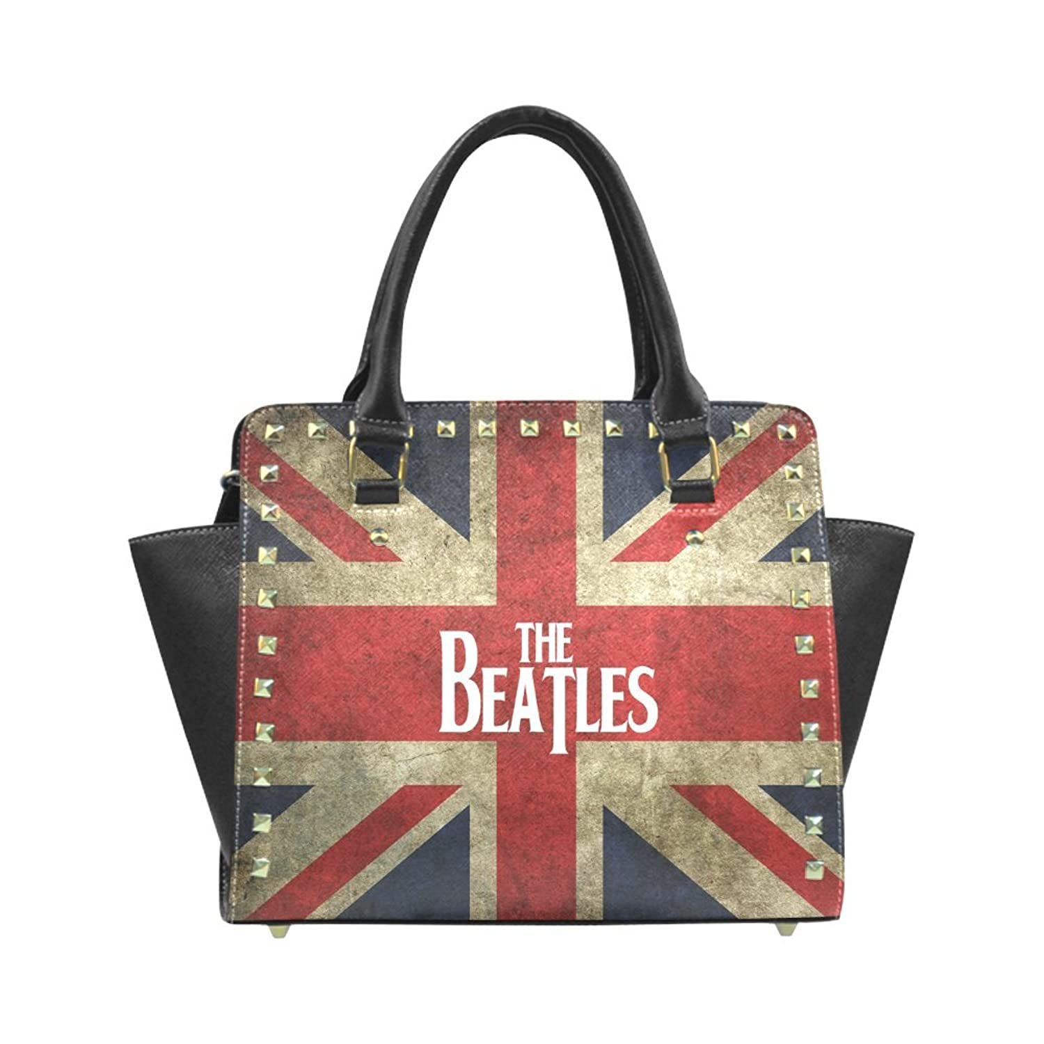 The Beatles and British Flag Women's PU Leahter Wings Rivet Shoulder Handbag