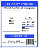 Pro Office Premium 100 Full-Sheet Self Adhesive Shipping Labels for Laser Printers and Ink Jet Printers, White, Made in USA, 8.5 x 11 Inches, Pack of 100, Same Size As 8165 and More
