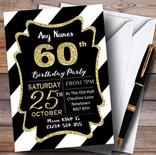 Black White Diagonal Stripes Gold 60th Personalized Birthday Party Invitations