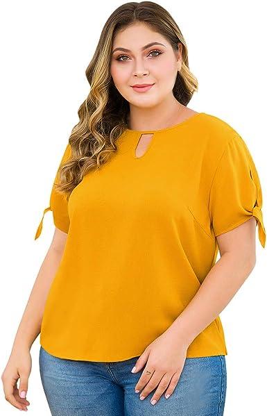 MISSWongg_Camiseta para Mujer Tallas Grandes Algodón Cuello ...