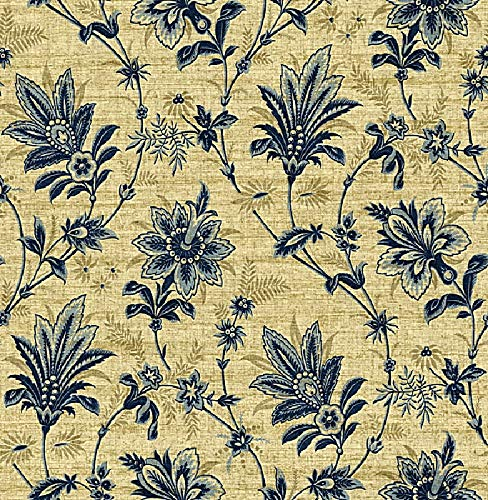 Wallpaper Cottage Jacobean Floral Vine Blue Navy Blue on Tan