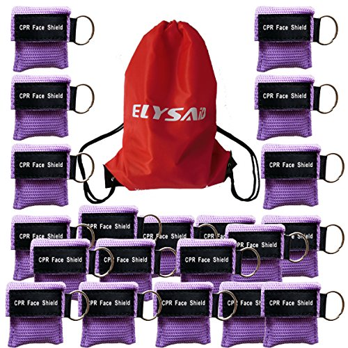 (100 Purple CPR Mask with Keychain Face Shield key AED Key Chain Disposable Mask)