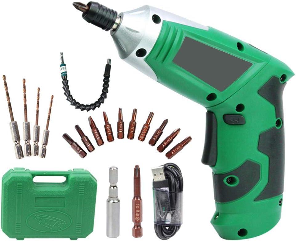 Kshzmoto Kit de Taladro eléctrico inalámbrico de 3.6V con Eje Flexible Mango Giratorio de 180 ° Luz LED Batería de Litio Recargable Paredes de perforación Ladrillos Madera Metal para el hogar Proyect