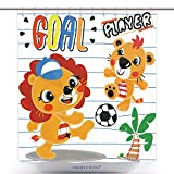 Funky Shower Curtains Cartoon Cute Lion And Tiger Playing Soccer Ball On Field Illustration Vector 456738598 Polyester Bathroom Shower Curtain Set With Hooks