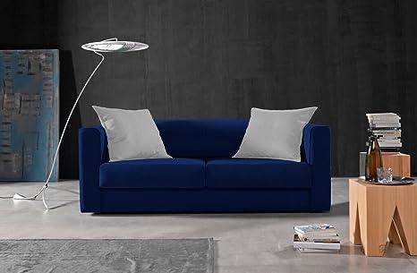 Due-home Sofá 3 plazas SAK,Acabado Tela Antimanchas Color (Azul y Cojines Blancos)