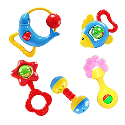 Sipring Musical Toys for Kids Baby Roll Drum Musical Instruments Band Kit Children Toy-5pcs-Random Color (Handbells): Toys & Games