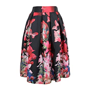 FSDFASS Faldas Hot Fashion Vintage Peacock Floral Estampado de ...
