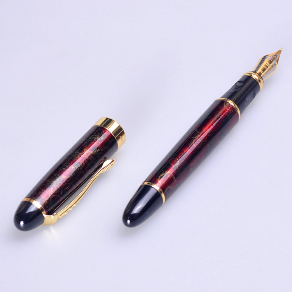 New Jinhao x450 Deep Purple Medium Fountain Pen with Gold Trim UK Seller