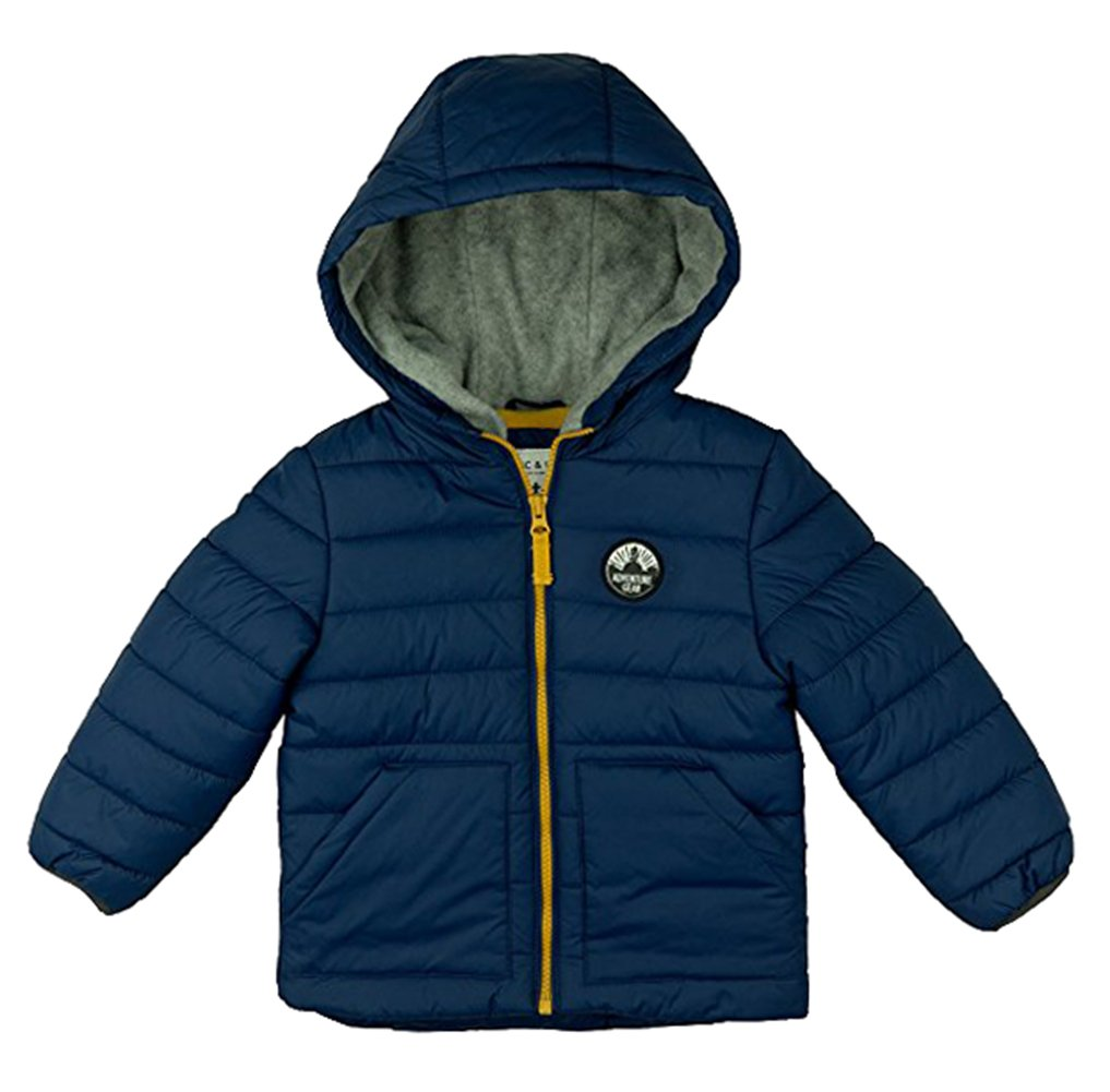 Carter's Baby Boys Classic Heavyweight Bubble Jacket, Salem Blue/Gold, 18M