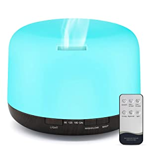 Essential Oil Diffuser, 500ml Diffusers for Essential oils with Remote Control, Ultrasonic Aromatherapy Diffuser Humidifier with Adjustable Cool Mist Mode, Mood Lights, Timer & Waterless Auto-Off