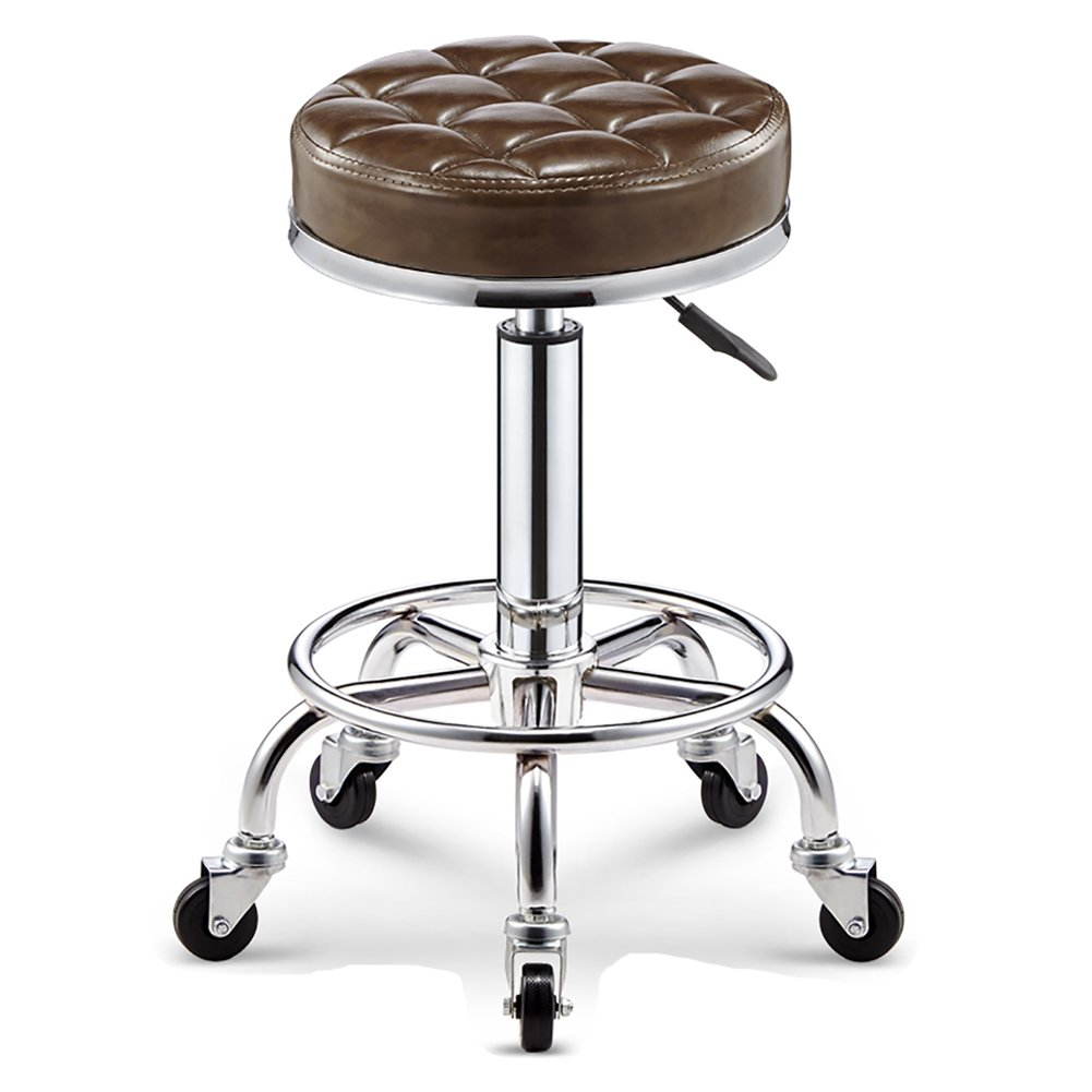 Light Brown 35CM Nationwel@ with Wheels Bar Kitchen Breakfast Stools,Rollable 360 Degree redation,PU Leather&Stainless Steel,Safe and Stable (color   Ginger Yellow, Size   35CM)