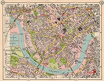 sw london fulham walham green hammersmith south kensington earls court 1953 old map
