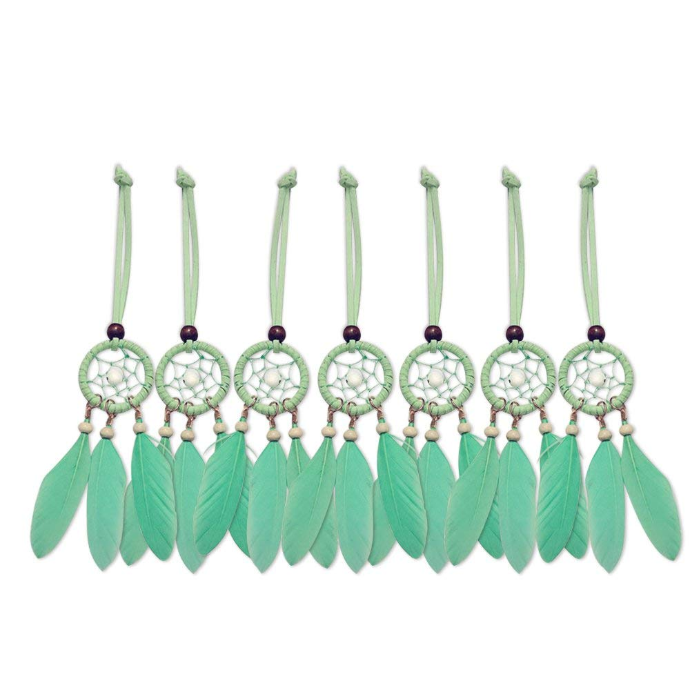 White Mini Dream Catcher 7pcs Set Car Interior Rearview Mirror Dangle Bag Pendant Charm 1.2 Diameter and 9 Long