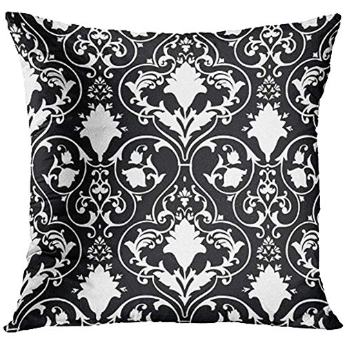Starotor 18x18 Inch Throw Pillow Covers Decorative Case Black Fleur Antique Scroll White Lis Damask Abstract Baroque Beauty Curl Cover Square Pillowcase Cushion Cases Print On Two Sides