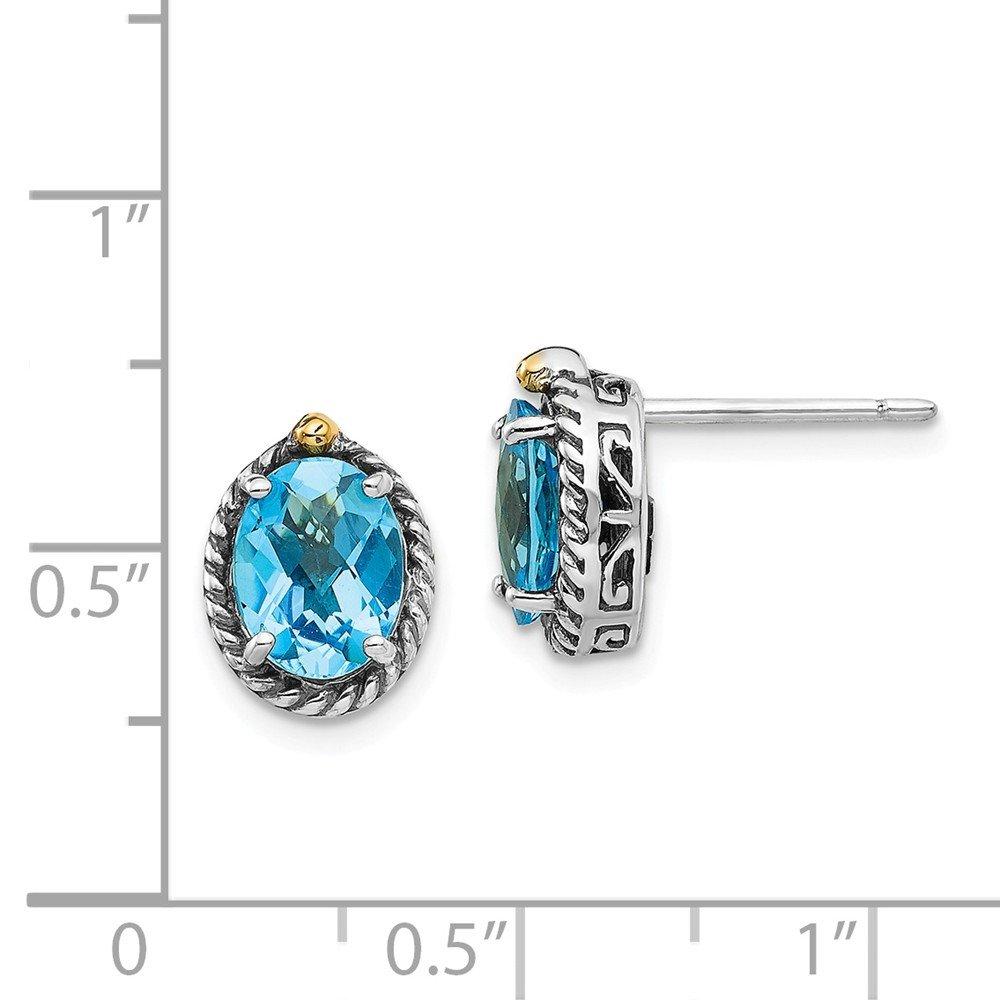 Mia Diamonds 925 Sterling Silver and 14k Yellow Gold Lt Swiss Blue Topaz Post Earrings