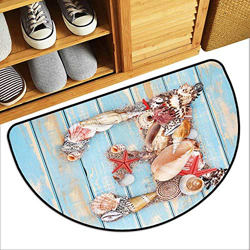 DILITECK Printed Door mat Letter E Stylized E Font Different Lively Seashells Exotic Underwater Life Antifouling W31 xL20 Pale Blue Ivory Dark Coral -