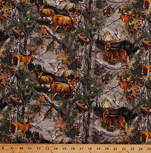 - Flannel Realtree Camouflage Woods Hunting Camo Deer Bucks Trees Branches Dead Leaves Autumn Fall Country Flannel By the Yard (10169)