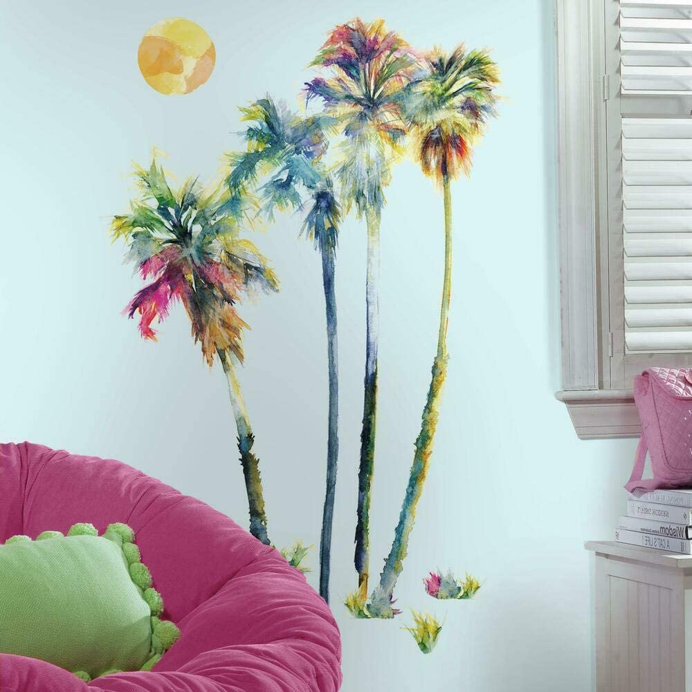 Roommates Watercolor Palm Trees Peel And Stick Giant Wall Decals Amazon Com