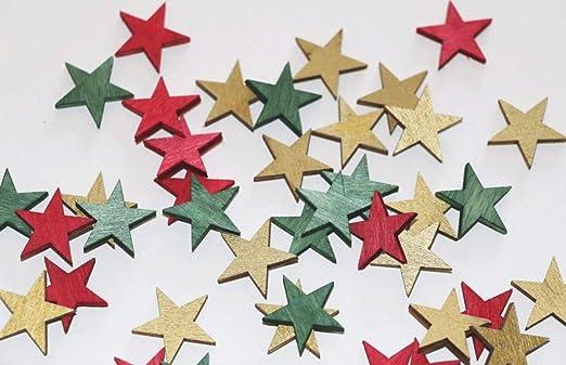 Unbekannt 72 Stk Holzsterne 2cm Grün Gold Rot Weihnachten