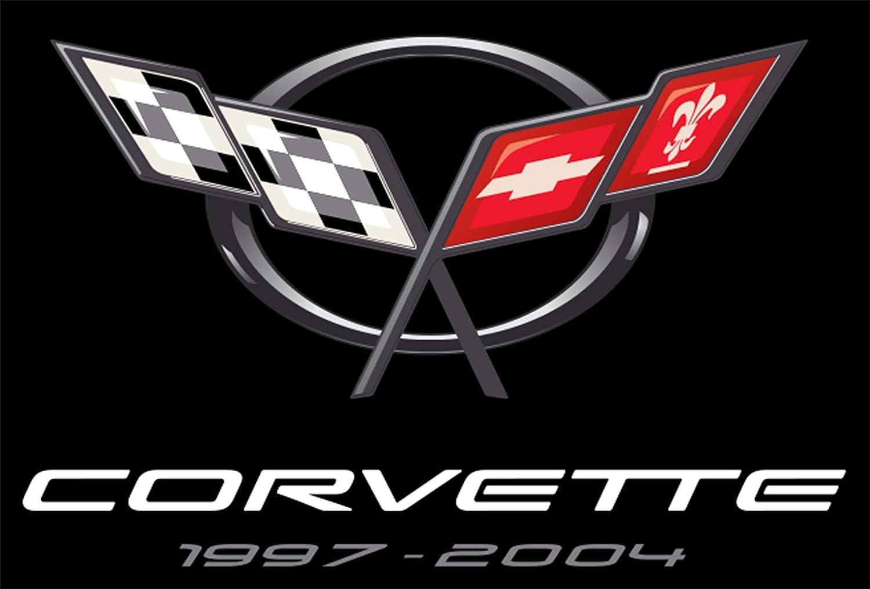 JH DESIGN GROUP Mens Chevy Corvette T-Shirt C5 Series Logo Black Crew Neck Shirt