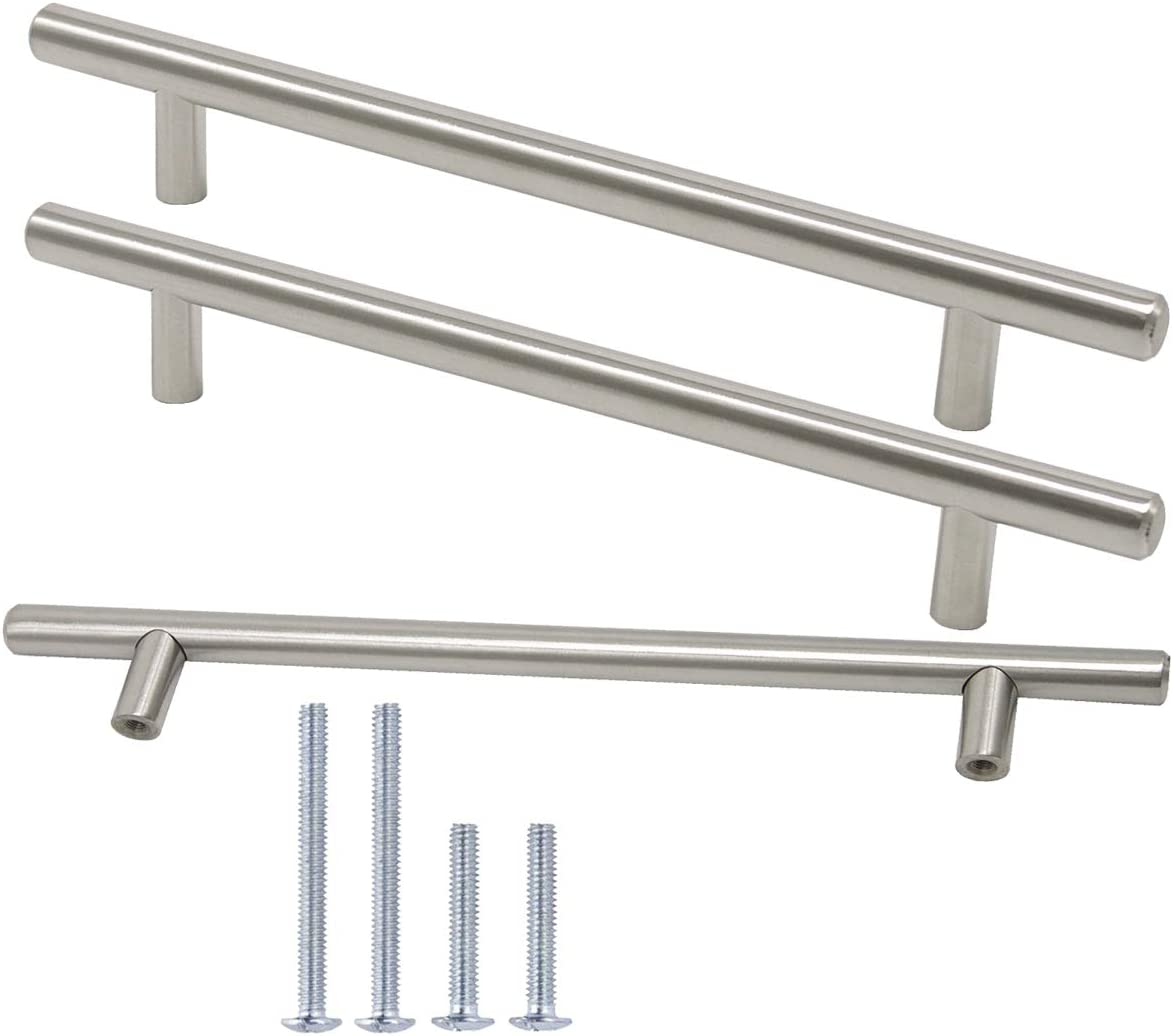 Gobrico 30 Pack T Bar Cabinet Pulls Brushed Nickel Kitchen Cupboard Handles Satin Nickel Cabinet Handles 6-3/10 inch Hole Centers