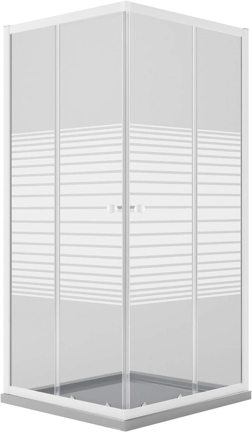 Idralite Mampara de Ducha Rectangular 80x100 CM H185 Blanco Vidrio Serigrafiado Mod. Blanc: Amazon.es: Hogar