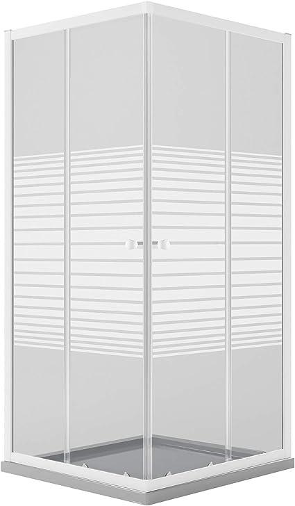 Idralite Mampara de Ducha Rectangular 70x90 CM H185 Blanco Vidrio Serigrafiado Mod. Blanc: Amazon.es: Hogar