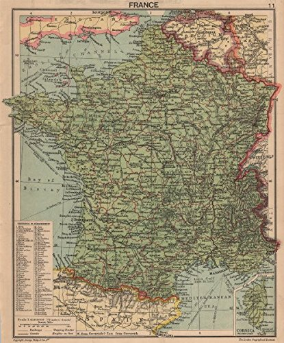 SECOND WORLD WAR. France in 1940. Pre-invasion - 1940 - old map - antique map - vintage map - printed maps of France