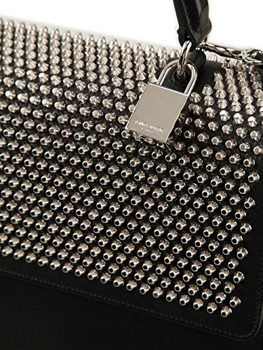 YSL Saint Laurent Moujik Tote Bag in Black Leather Stud Details ...