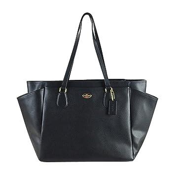 Amazon.com   COACH Crossgrain Leather Baby Diaper Multifunction Bag in  Light Gold   Black 35702   Baby e022144fba899