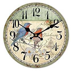 HUABEI Wood Wall Clock Vintage Birds with Flower French Country Romantic Shabby Chic 12 Large Decorative Roman Numerals Analog Battery Operated Silent for Home Decoration