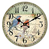 HUABEI Wood Wall Clock Vintage Birds with Flower French Country Romantic Shabby Chic 12'' Large Decorative Roman Numerals Analog Battery Operated Silent for Home Decoration
