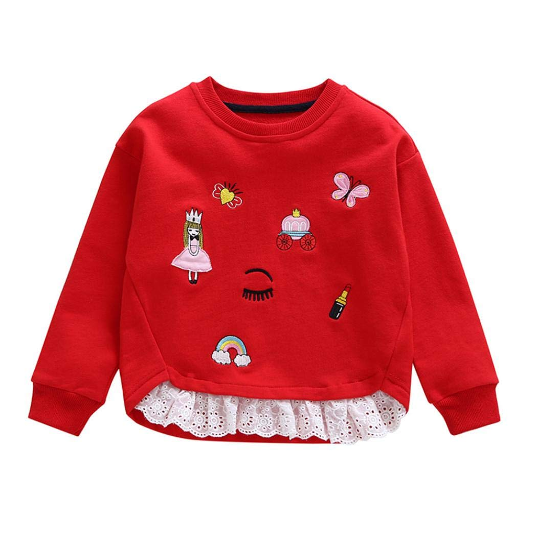 2-6T Toddler Infant Baby Girls Cute Tops Embroidery Patchwork Sweatshirt Round Neck Pullover Blouse Winter Clothes (Red, 4T)