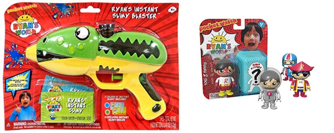 Kids Little Toddlers Ryan's World (Bonus Dinosaur Train) 2 Pack Figurine Surprise Pack Ultra Rare & Instant Slimy Slime Blaster by Indoor toys