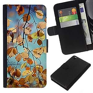 KLONGSHOP // Tirón de la caja Cartera de cuero con ranuras para tarjetas - Amarillo caída del otoño Naturaleza Árbol - HTC DESIRE 816 //
