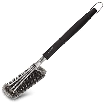 Navaris Cepillo de Alambre para Parrillas - Utensilio 3en1 Limpia Barbacoa - Cepillo metálico con Mango Extra Largo - Cepillo de Acero Inoxidable
