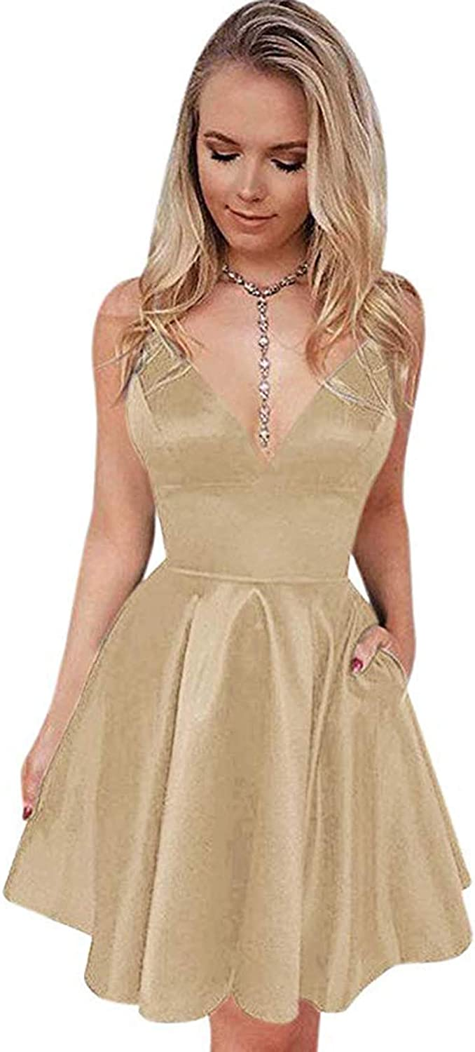 Champagne Rmaytiked V Neck Spaghetti Strap Prom Dresses Short 2019 Satin A Line Homecoming Dresses with Pockets