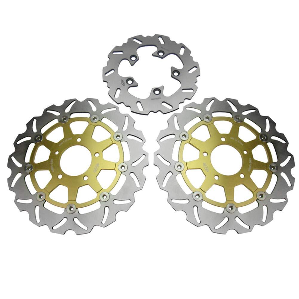 GZYF バイク フロント リア ブレーキ ディスクローター ブレーキローター ステンレス鋼 品質抜群 カスタムパーツ 完璧交換 対応車種 SUZUKI GSX600R GSX750R GSX1000R 3個セット 金  ゴールド B07L9P55BM