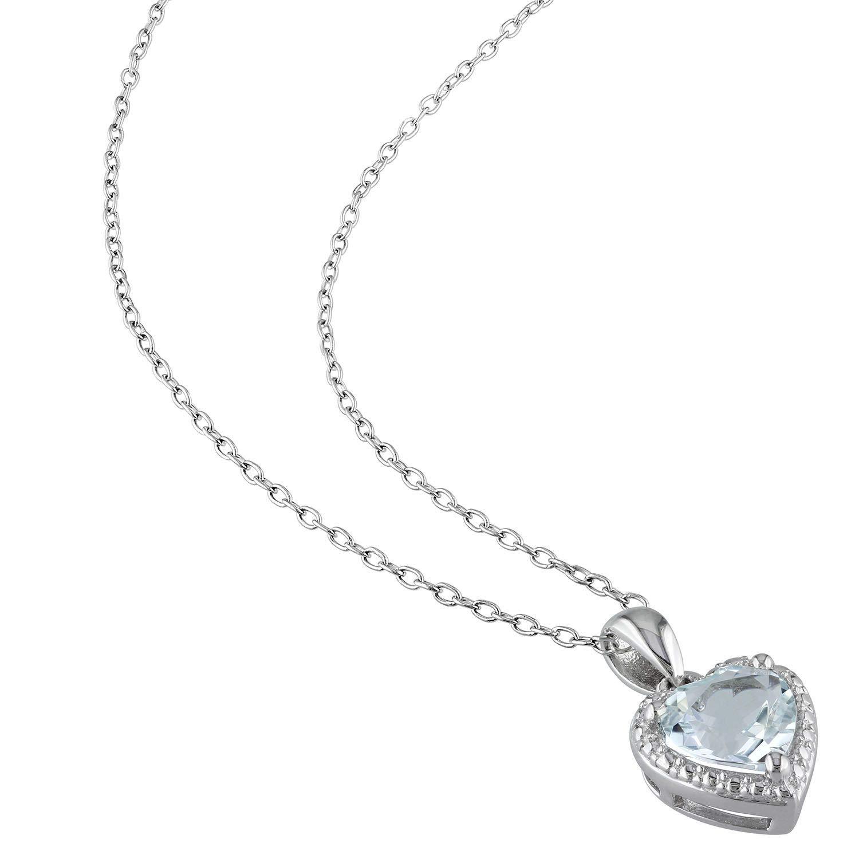 Aquamarine Hearth Halo Pendant Necklace