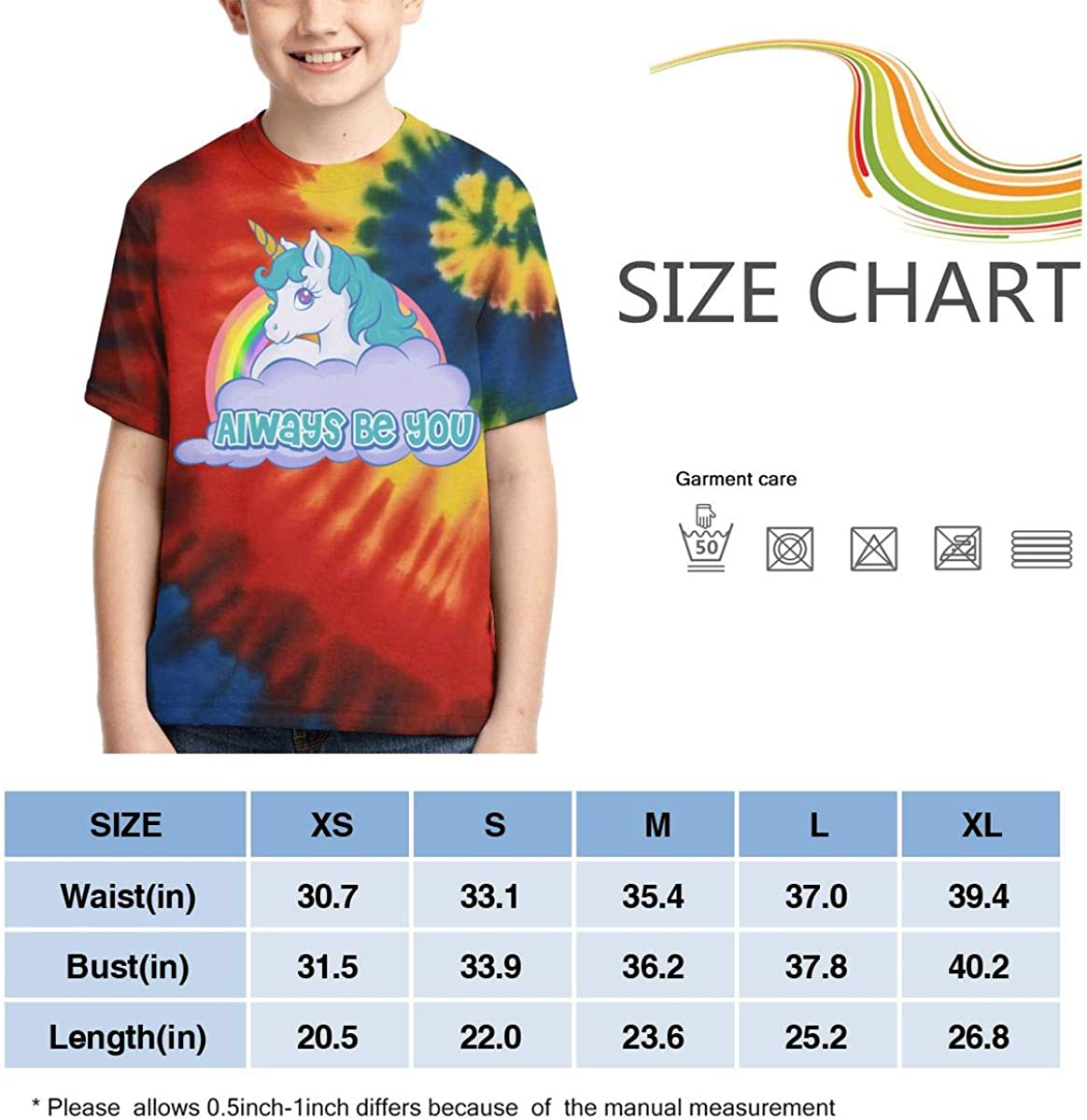 AMODECO Always BE You Unicorn 3D Printed Tee T-Shirt for Youth Teenager Boys Girls