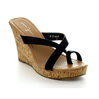 6e4f102db0d40 Fashion Focus Alicia-13 Womens Slipper Wedge Sandal