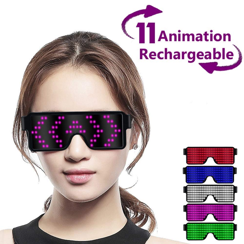 LYX Dynamic LED Light Up Glasses, USB Rechargeable&Wireless with Flashing LED Display, Can Work 6 Hours, Have 8 Dynamic Patterns, Glowing Luminous Glasses for Christmas,Party,Bars,Rave,Festival,etc. by LYX