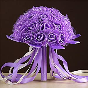 Wedding Bouquet ,YJYdada Crystal Ribbon Roses Bridesmaid Wedding Bouquet Bridal Artificial Silk Flowers 39