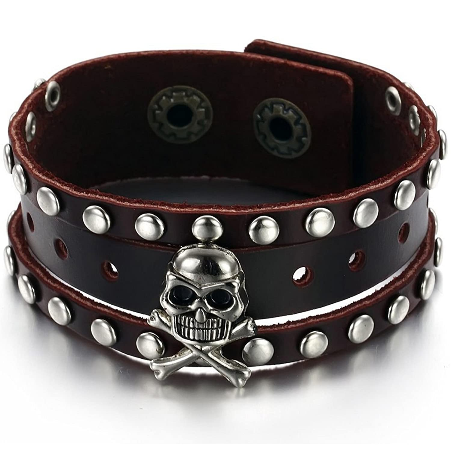 Pirate Black Leather Stainless Steel Skull Wristband Cuff